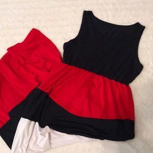 Red/white/navy ladies maxi dress